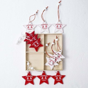 Wooden hanging christmas ornament for Christmas tree 12 Pack