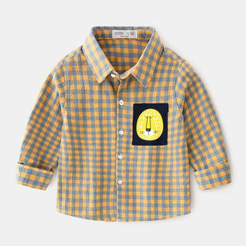 Boys clothes Children Long Sleeve 2019 New Autumn Long Sleeve Shirt Plaid Cartoon Fashion Comfort Lapel Shirt