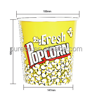 130 oz customized food grade paper cups buckets bowls tubs for popcorn snack packaging