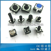 UL VDE ENEC ROSH approved of all dimension high quality 4 pin electronic 4x4 6x6 12x12 center push button tact switch 50mA 12V