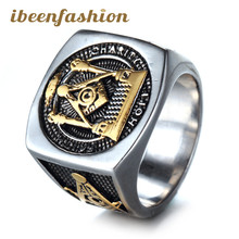 High Quality Men's Jewelry Masonic 316 L Stainless Steel Ring Wholesale Promotional