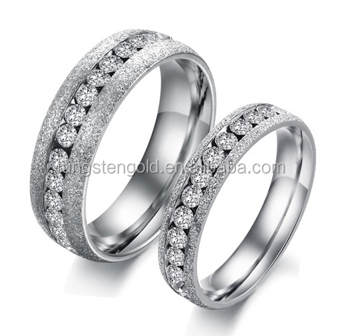 Beautiful Wedding Rings Engagement Bands Mens and Womens Titanium Rings with Crystals and Pearly Brushed Ring