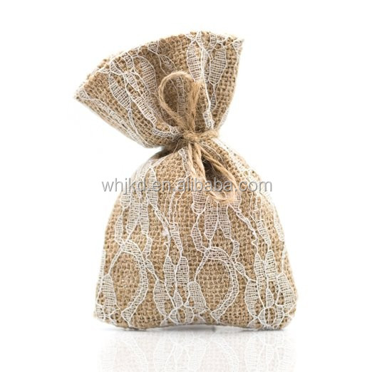 Wedding Party Favor Bags Burlap & Lace Rustic Decorations