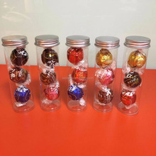clear candy tube Threaded Packaging with aluminum Screw cap PETG