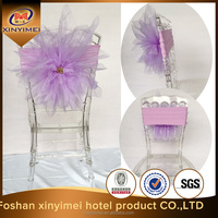 cheap organza flower wedding chair covers for sale