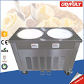 Good quality commercial 2 pan durable double flat pan fry ice cream machine