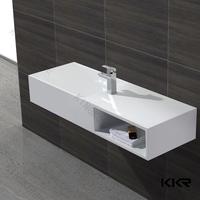 Popular modern design wash basins with cabinet bathroom , solid surface washbasin