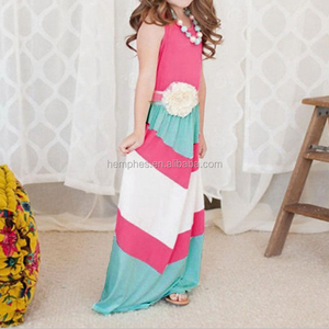 Wholesale Summer Red White Stripes Family Matching Maxi Dress