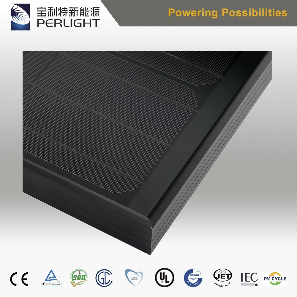 Manufacturer Supplier Perlight Solar Panel All Black Solar Module 280W Flexible Solar Cell for Wholesales