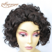 100% human hair short curly hair lace front wig indian remy