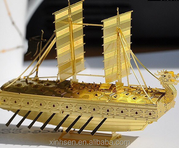 Christmas metal arts and crafts brass ship model