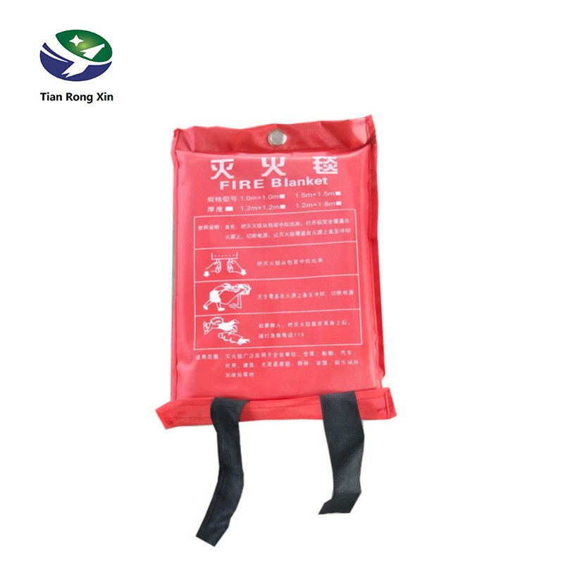 High temperature insulation fire proof glassfiber CE non asbesto kitchen fire blanket with handle in plastic box cheap wholesale