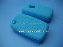 wholesale silicone car key blank shell rubber for VW 3 button in light blue