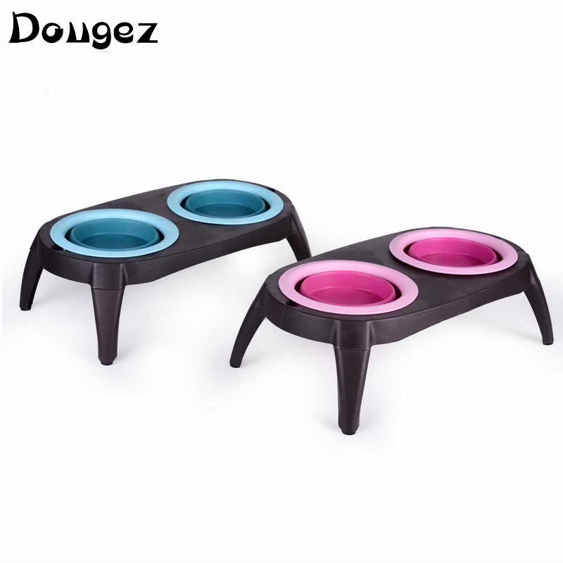 new design Pet feeder tool,pet food travelling Double collapsible Bowl,