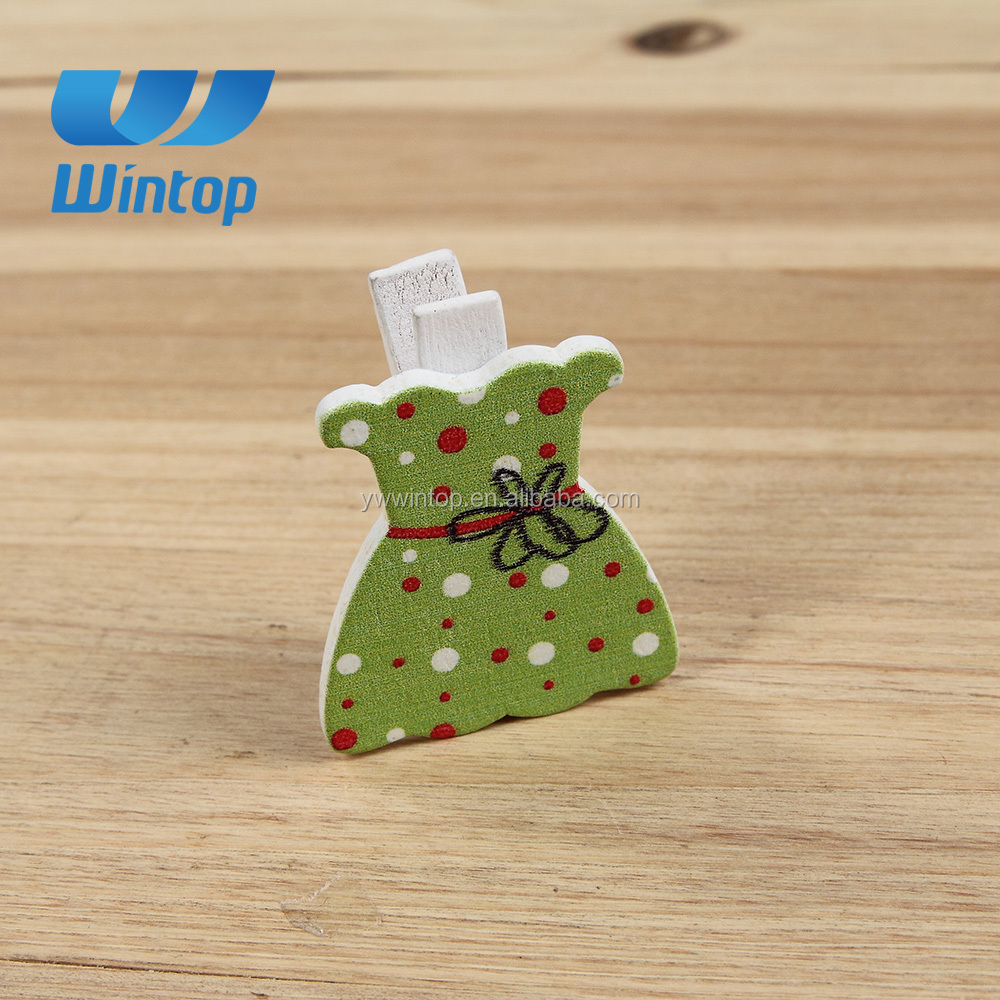 custom lady dress shape colorful cute wooden peg
