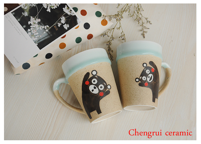 China chubby bear special gift ceramic matt couple hot sale creactive valentine's mug