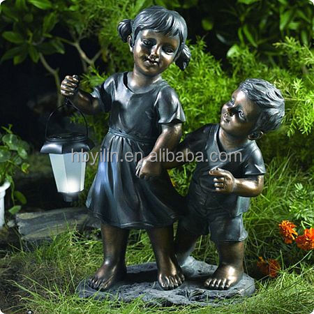Solar Lantern Bronze Girl And Boy Statue
