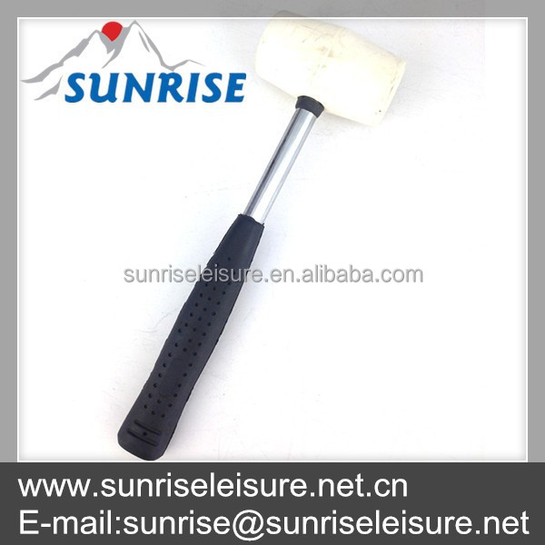 83034-A#12oz white head steel handle rubber mallet