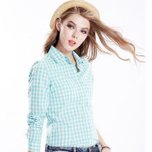 Ladies Girls Gingham Cotton Checked Blouse Shirts