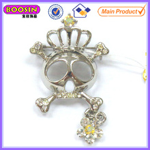 Fashion rhinestone skull brooch with funny crown #5851