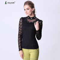Black Sexy blouses/fashion blouse/long sleeve blouse