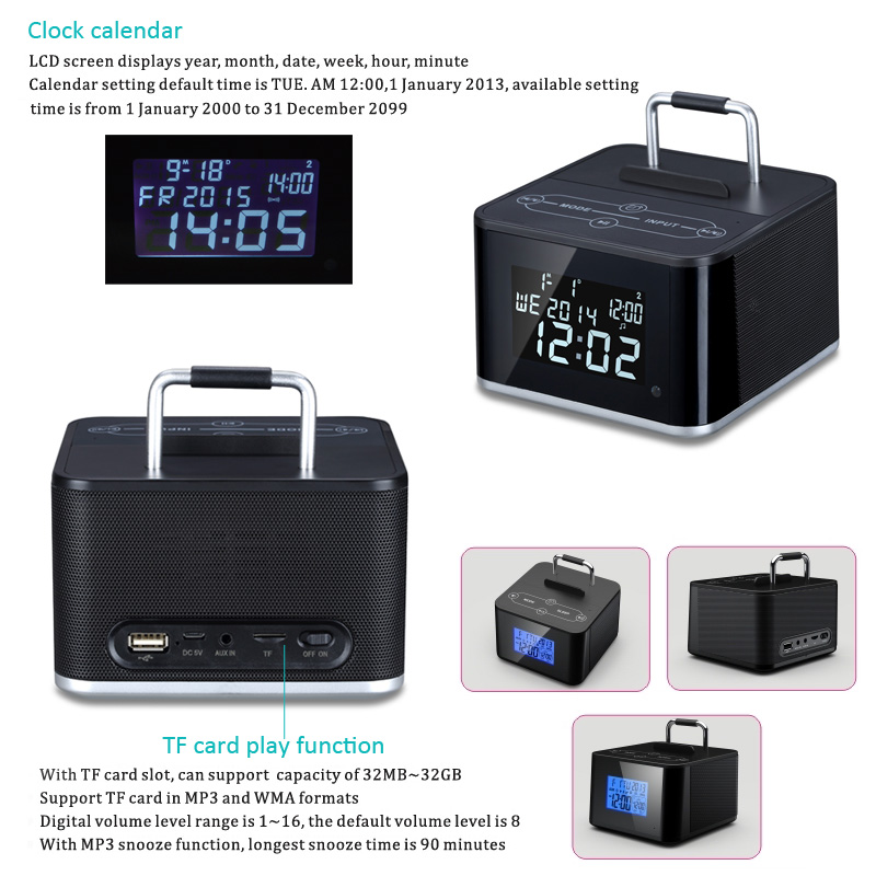 newest lcd display bluetooth fm radio speaker with remote control alarm clock time setting and. Black Bedroom Furniture Sets. Home Design Ideas