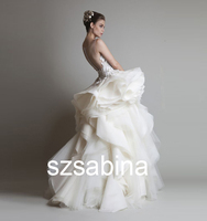 WA 10016 2016 New Strap See Through A-line Pregnant Women Handmade Flowers Small Train Wedding Dress