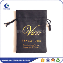 Black high quality jewellery suede pouch drawstring