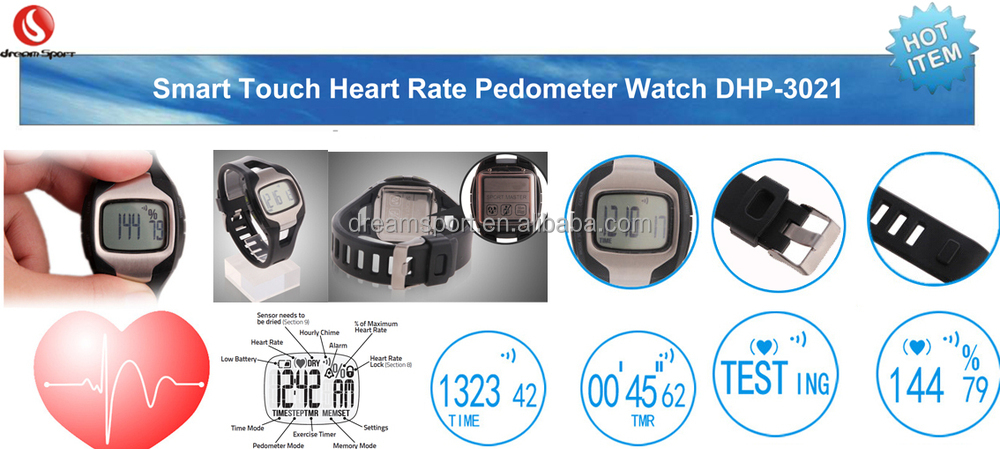 Strapless 2 in 1 finger touch heart rate monitor watch