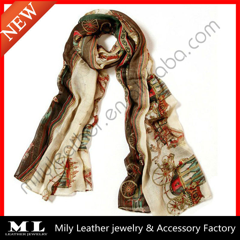 Latest design carriage digital printing cotton voile scarf shawl