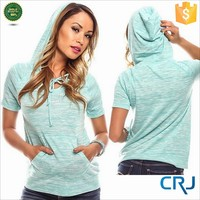 Short Sleeve Pullover Hoodie for Women