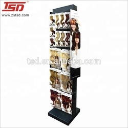 metal hook floor display stand retail shop fittings for wig/ hair extension