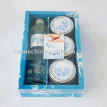 New arrival custom made design blue spa room spray and tin cande set