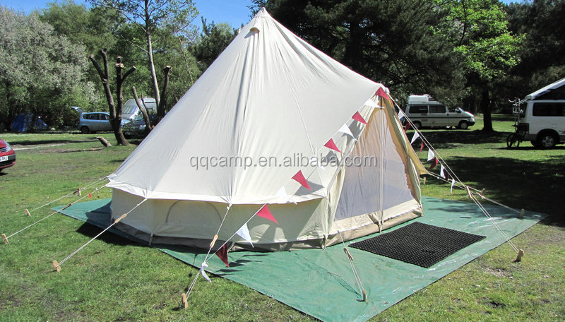 Cotton canvas bell tent for camping site and outdoor activity