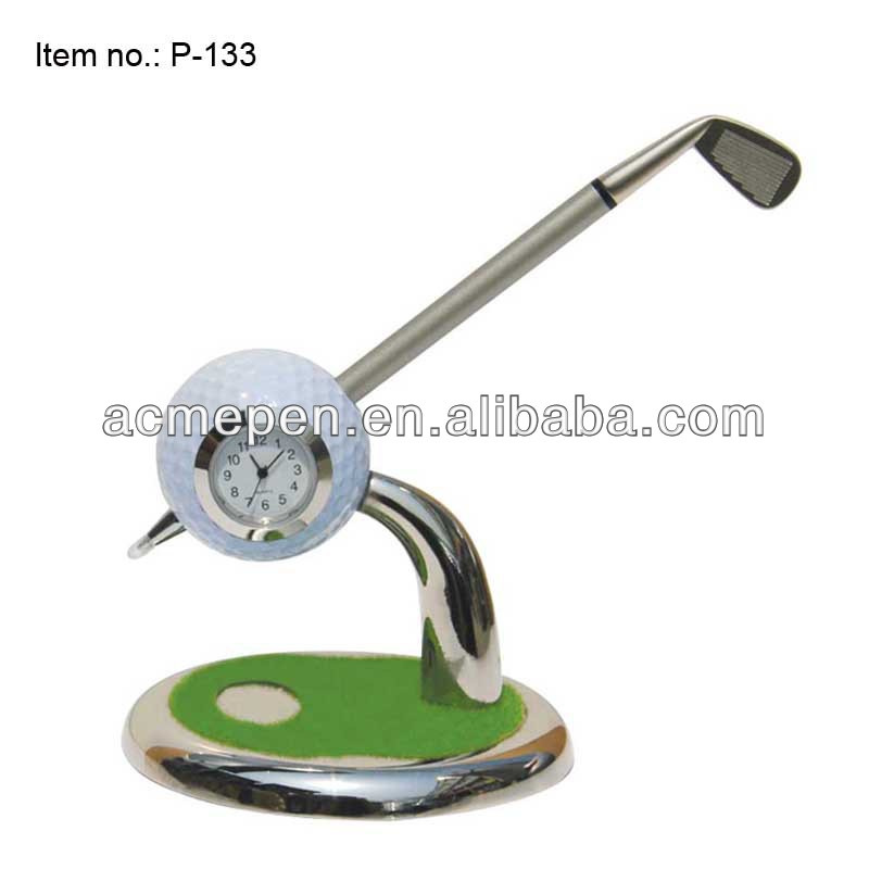 ACMECN Hot Sale Promotion Gifts Cool Style Mini golf ball pen and Golf Pen Holder with clock for Golf Club Gifts