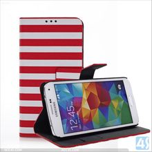 Two color flag pu leather stand case with card slots for Samsung Galaxy S5