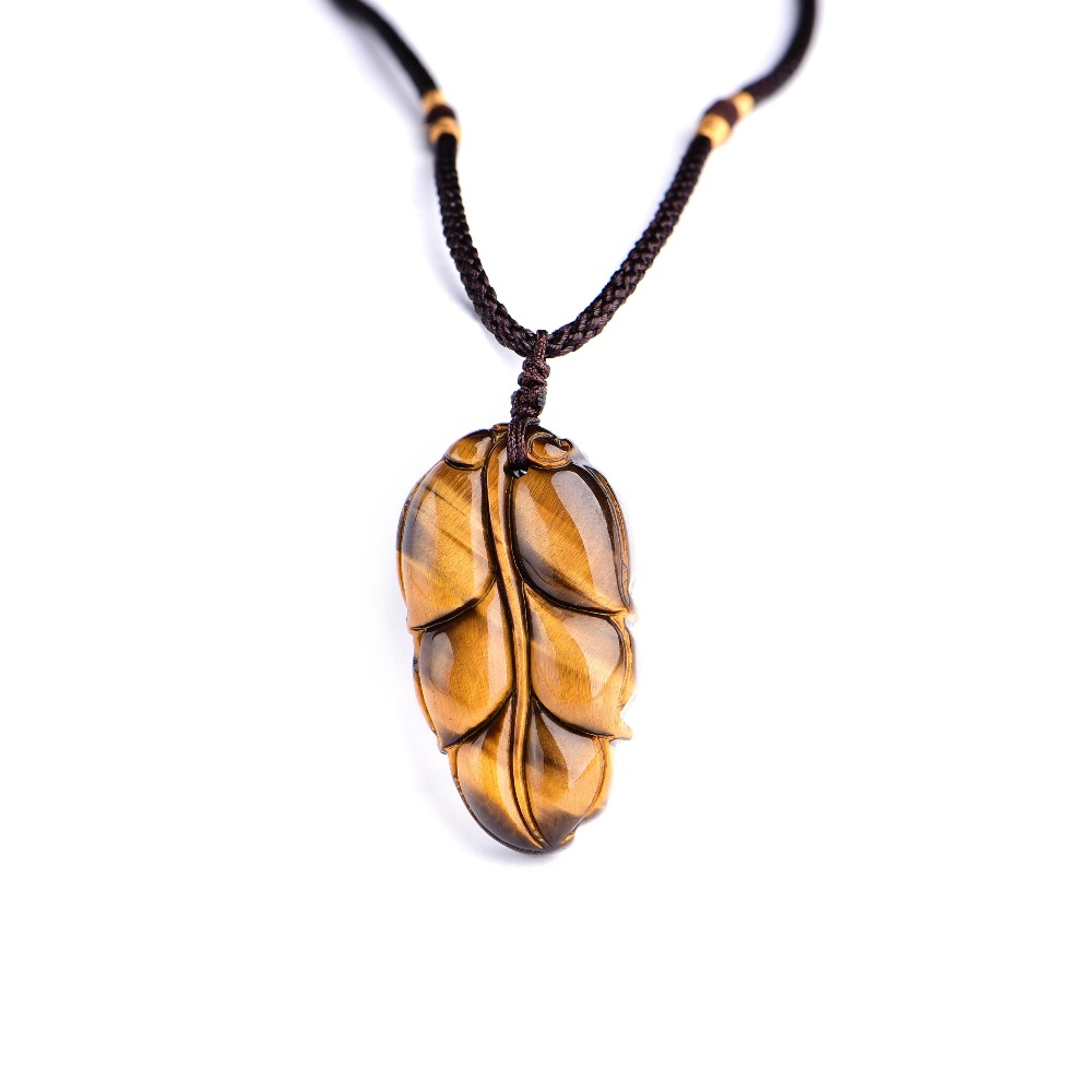 Natural Yellow Tiger Eye stone <strong>Pendant</strong> leaves For Lucky <strong>Pendant</strong> Man Amulet Free Rope