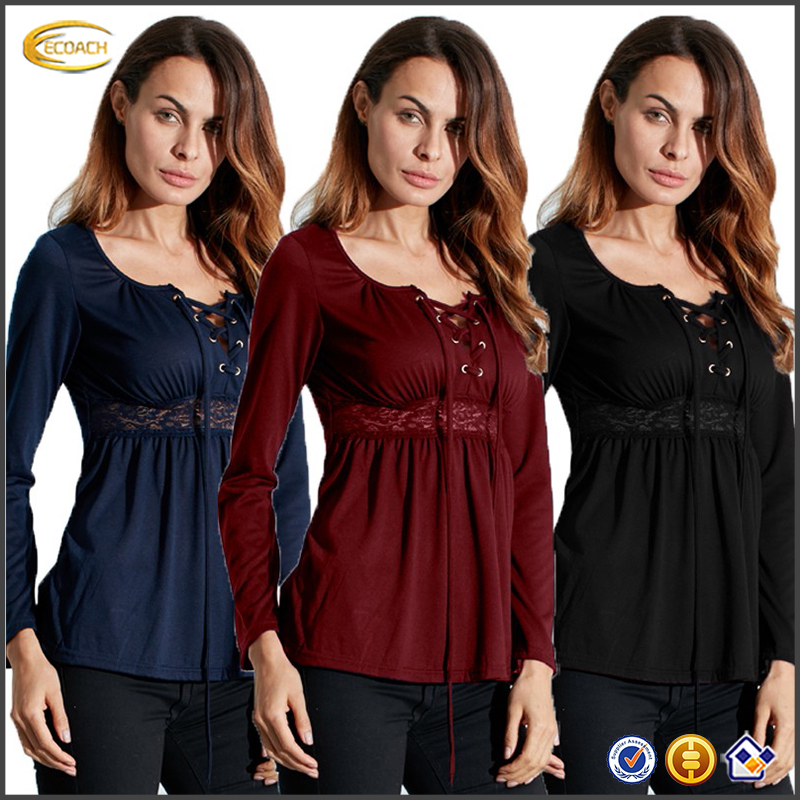 Ecoach Wholesale women Sexy Lace Up Long Sleeve Lace Casual blouse ladies fancy tops neck designs for ladies tops