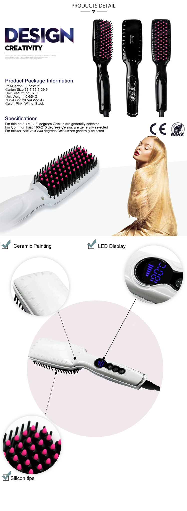 High Quality And Good Price Fast LCD Electric Brush Hair Straightening Comb