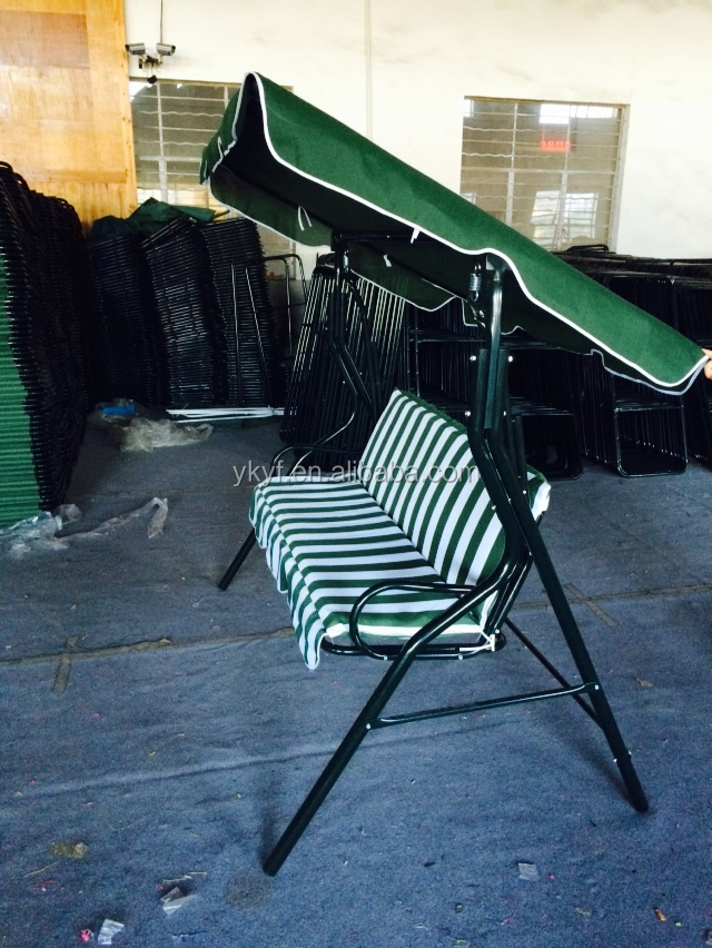 Garden swing Chair,3 seats outdoor swing with strip cushion,Outdoor green&white stripe swing chair