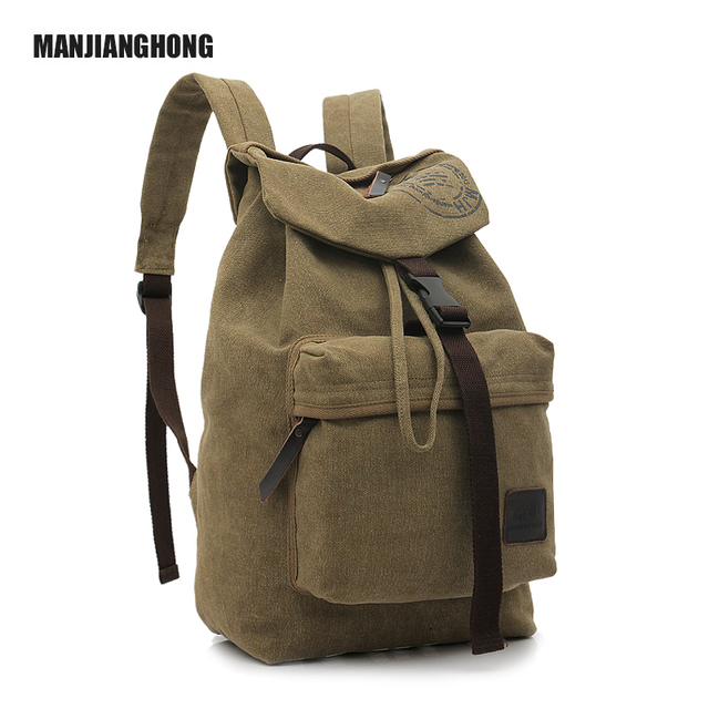 Factory Wholesale Travel Cheap Stylish Fashion Khaki Canvas Backpack