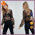 OEM wholesale price black sexy blouse,new design long sleeve blouse women