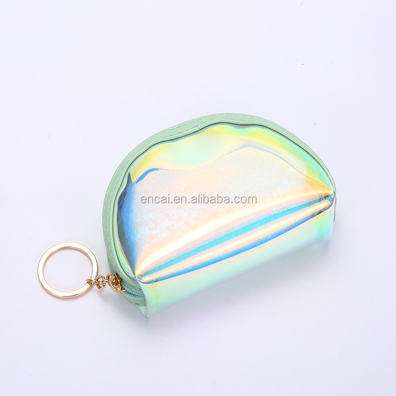 Encai Fashion Candy Color Coin Purse Laser Harajuku Style Coin Bag With Key Chain