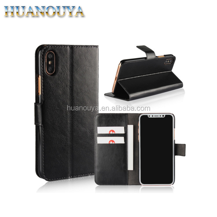 Factory OEM fashion PU leather case for iPhone X, for iPhone X leather wallet case with card slot