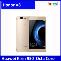 Original Huawei Honor V8 Octa Core 2K 1920*1080 Screen Cell Phone 5.7 inch 4GB RAM Android 6.0 LTE Kirin 950 Dual SIM 3 Cameras