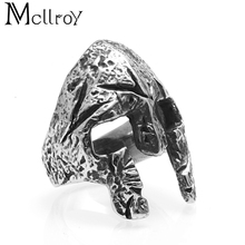 Mcllroy 2018 Gothic Vintage Hip-pop wholesale Engagement rings 361L stainless steel Cosplay Sparta mask Skeleton men's ring