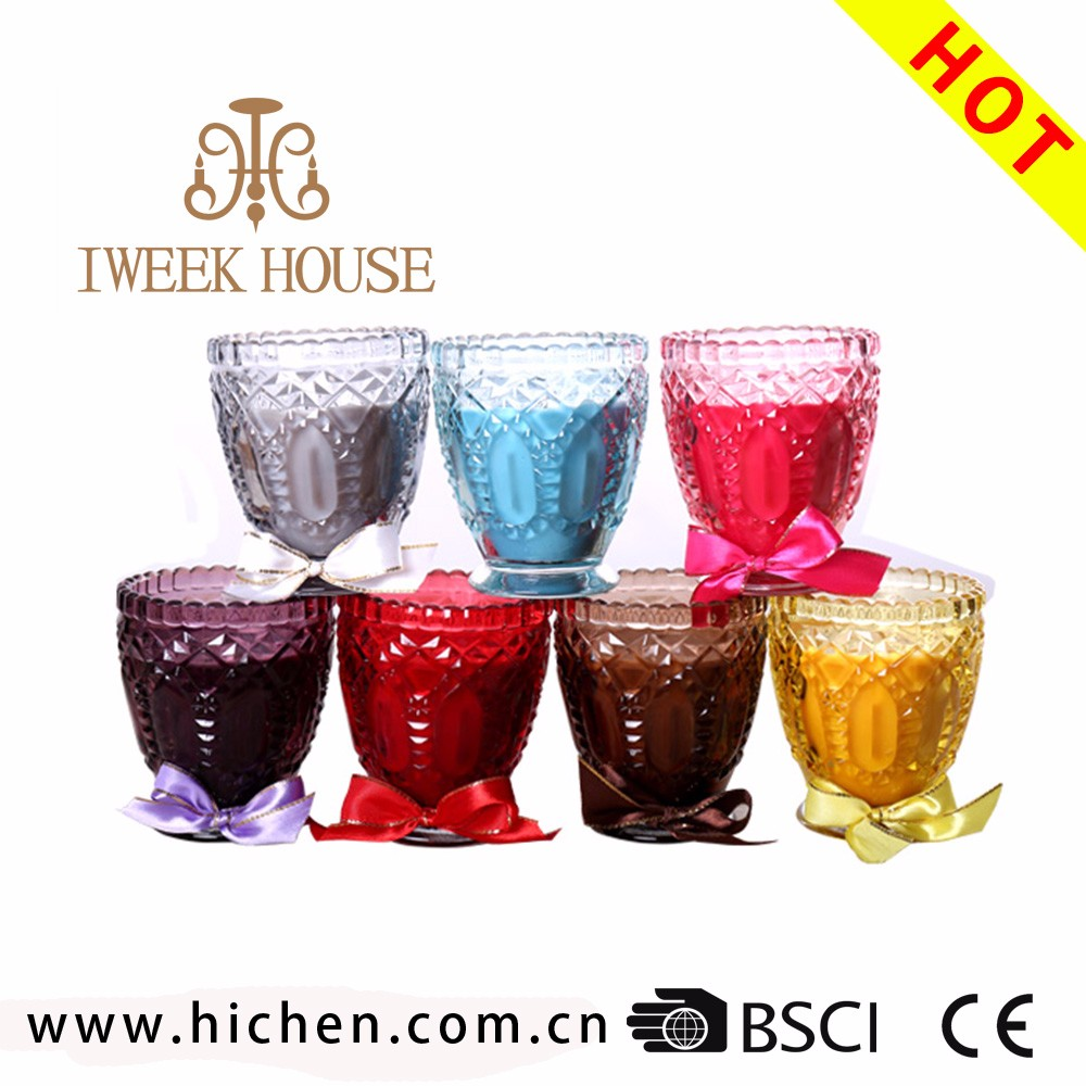 hot sale fashionable pure soy wax scented candles in Carved Cup for home decoration