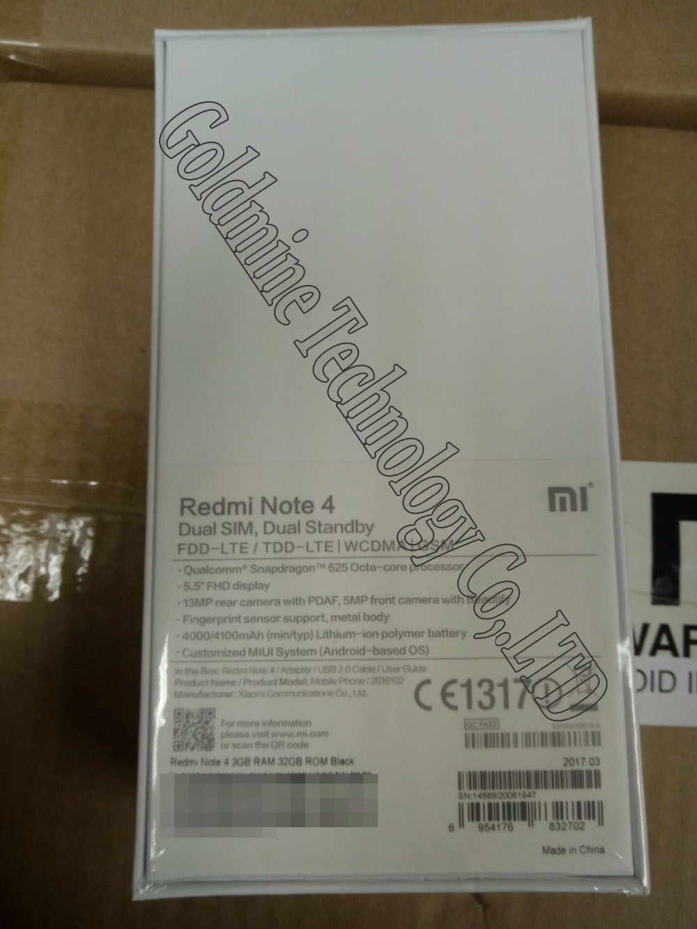 Original Xiaomi redmi note 4 EU version mobile phone 32GB ROM 3GB RAM Snapdragon 625 CPU 4100mAh