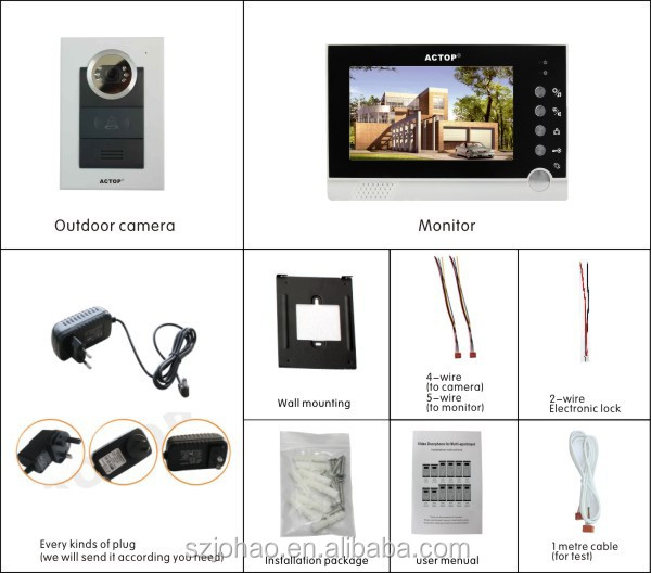 2016 Best Seller 4 Apartments Handsfree Villa 7'' TFT LCD color wire video door phone
