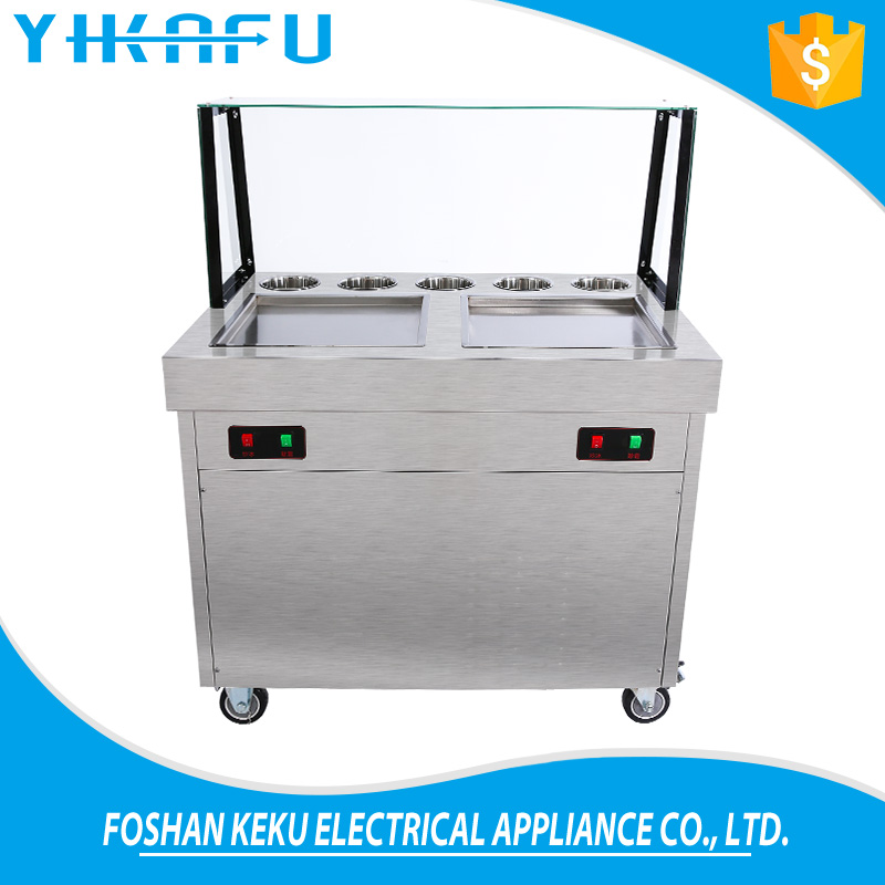 2017 new products commercial cold flat pan fried ice cream machine double pan